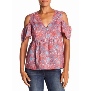 Lucky Brand Printed Wrap Style Cold Shoulder Top